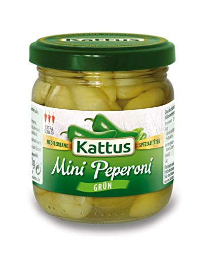 Kattus Extra scharfe grüne mini Peperoni, 180 g