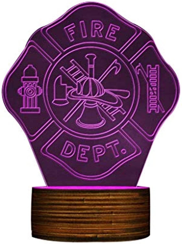 ZHJXQD 3D dekoratives Nachtlicht 3D Nachtlicht Rettungs Feuer Dept Farbwechsel LED Lampe Schreibtischlampe für Feuerwehrmann Einzigartiges Geschenk Emotionales Nachtlicht