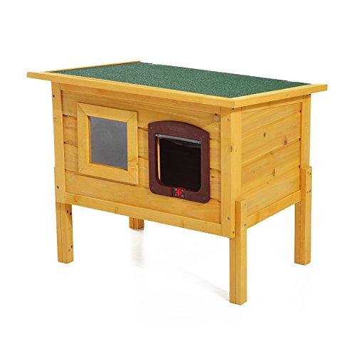 Pawhut Cuccia Casetta per Animali Domestici in Legno di Abete, 70x51.5x60cm