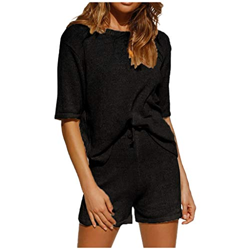 Bylater Women's 2 Piece Outfits Striped Knitting Half Sleeve Tops + Casual Shorts with Drawstring(M.Black)