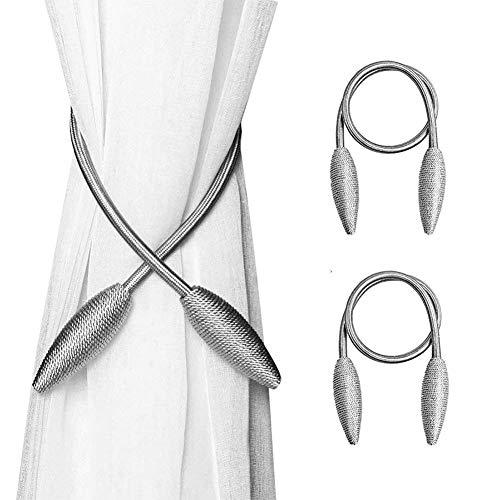 Queta Vorhang Raffhalter, 2 Stück Vorhang Halter Kreativ Gardinenhalter DIY Schnallen Clips für Haus Modellierung Home Office Hotel Fensterdekoration (Silber und Grau)