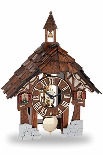 Hermle Reloj de cuco original de la Selva Negra, reloj de cuco de madera con mecanismo de 8 días, nuevo reloj de madera de la Selva Negra, 32 cm, 23029-030711