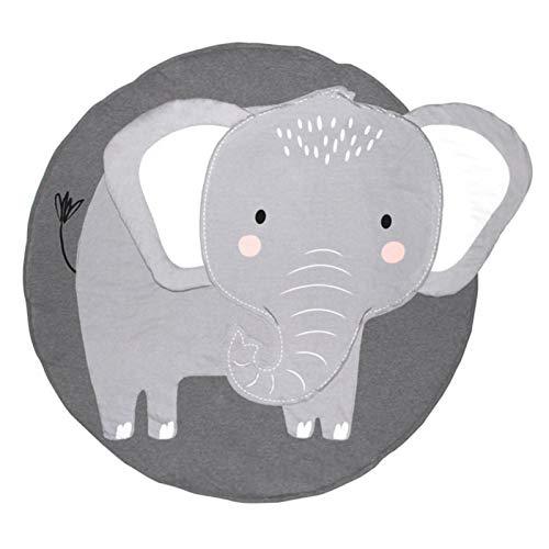 Baby Bodendecke Baumwolle, Kinderspielmatte Runde Weiche Schlafmatte, Waschbares Ungiftiges Material, Fitnessraum Bodenmatte Krabbelmatte Für Kinder Kinder Kleinkinder Schlafzimmer - Elefant