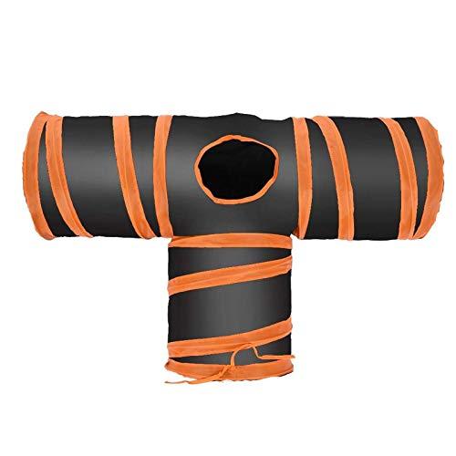 Samine Cat Tunnel Tube Premium - Tienda de campaña plegable (3 vías), color naranja