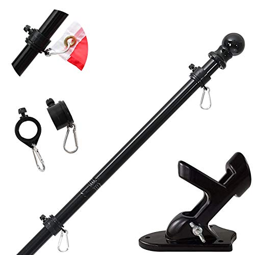 Flag Pole with Bracket,5FT/6FT Flagpole Kit American Flag with Pole Holder Mounting Bracket Stainless Steel Heavy Duty for Garden Yard Truck Boat Rustproof (6FT, Black Flag Pole With Black Bracket)