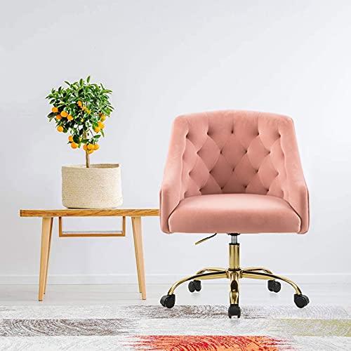 Large Velvet Fabric Swivel Task Chair for Home Office Ergonomic Comfortable Chair - Girls Lovely with Gold Frame for Girls S-6030