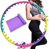 Wuudi Hula Hoop Reifen für Fitnessübungen Magnetische Massage Abnehmen Hula Hoop 8 Abschnitte abnehmbar mit 1x Gratis Gummiband lila
