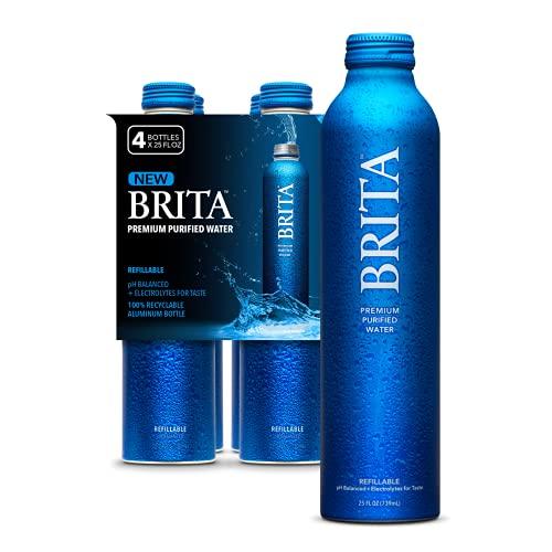 brita bpa free water bottles Brita Water, 25 Fl Oz (4 Pack), Premium Purified Still Bottled Water, Infinitely Recyclable Aluminum Bottle, Refillable Water Bottles, Filtered Water, BPA Free.