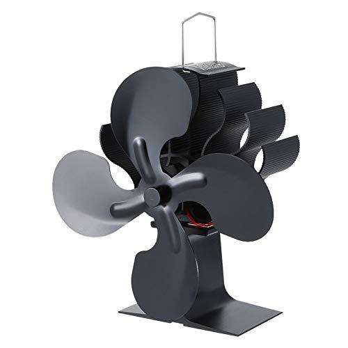 wivarra Ventilador de Estufa de Calor de 4 Aspas para Chimenea de 1 Pieza Ventilador Silencioso EcolóGico de Quemador de LeeA DistribucióN de Calor Eficiente en el Hogar