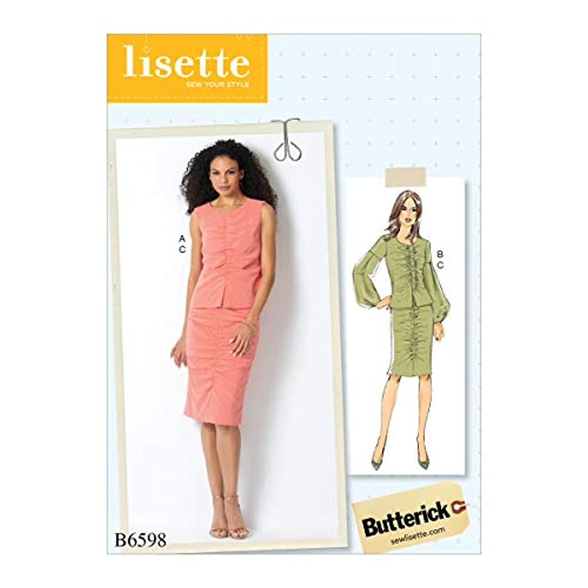 McCall's Patterns B6598E5 BUT BUT 6598 Casual Butterick Patterns B6598 E5 Misses' Top and Skirt by Lisette, Size 14-22?, 14-16-18-20-22, White