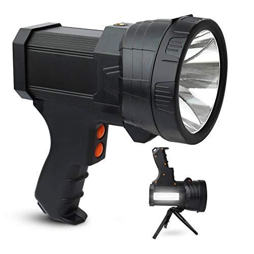 Rechargeable LED Spotlight Flashlights High Lumens 6000 Lumens Super Bright Handheld Spotlight Lamp with Lasting Battery amp Foldable Tripod amp Power Bank 6 Modes Flashlight for Hunting Emergencies