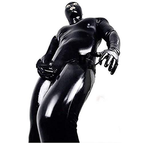 Herren Glänzendes Lackleder Catsuit Ganzkörper-Men Design Sexy Latex Eng Zipper Jumpsuit Gummi Kleidung mit Schrittgurt,XXL