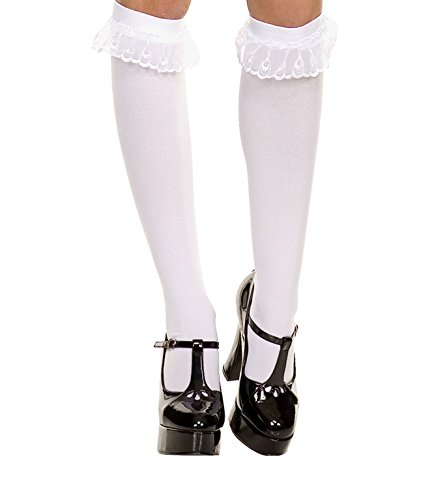 Music Legs Sky Hosiery 5752 White Opaque Knee High with Ruffle Lace Trim, One size
