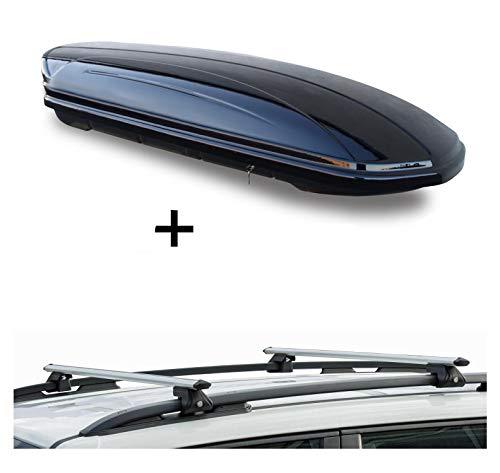 Dachbox VDPMAA320 320Ltr abschließbar schwarz + Dachträger CRV135 kompatibel mit Jeep Renegade (5 Türer) ab 2014