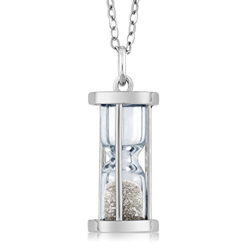 Gem Stone King 925 Sterling Silver Genuine Diamond Dust Hourglass Pendant Necklace (0.50 Ct, With 18 Inch Chain)