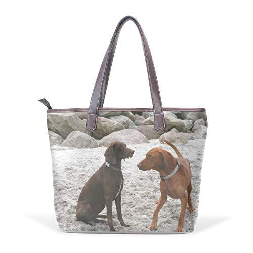 MALPLENA Paar-Hundemuster Totes Umhängetasche Handtasche