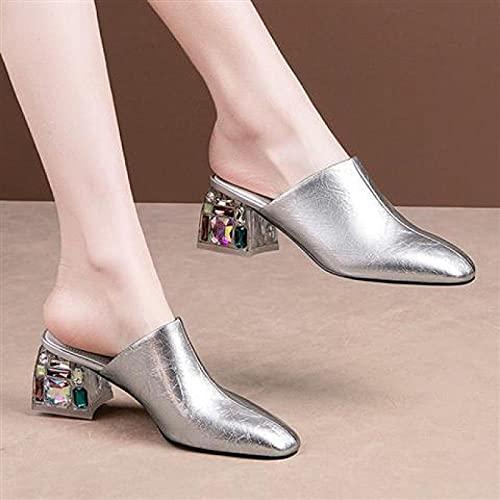 Chanclas para Adulto,Mujeres Gruesas Desgaste Sandalias, Zapatos de Mujer Pitto Bag Head Heal Tacón Alto-Plata_36,Chanclas de Goma