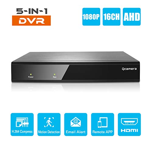 Q-camera 16CH 1080P Full HD Hybrid AHD/TVI/CVI/Analog/Onvif IP DVR H.264 CCTV Video Recorder Motion Detection P2P Remote Phone Monitoring for Home Security Surveillance System Camera (NO HDD)