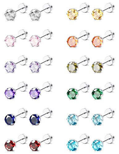 ORAZIO CZ Stud Earrings for Women Men Stainless Steel Cubic Zirconia Screwback Earrings Set 5MM