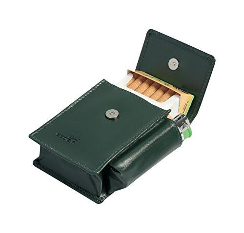 Egoist Premium - Zigarettenetui aus hochwertigem Leder I Zigaretten HülleI Box I Schachtel I Inklusive Feuerzeug Fach I Passend für Zigarettenschachtel in Standardgröße - Grün
