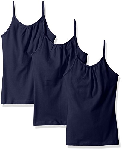 Hanes Little Girls' Cami with Shelf Bra (Pack of 3), Navy, Small