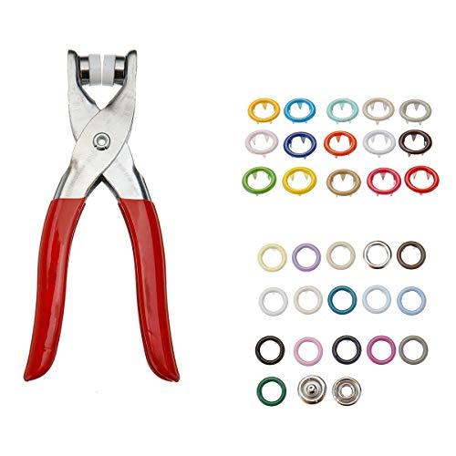 ZOYOSI 310 alicates de 31 colores, 9,5 mm, botones de metal, cierre a presión y kit de alicates