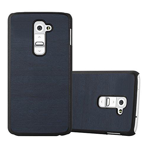Cadorabo Custodia per LG G2 in WOODY AZZURRO - Rigida Cover Protettiva Sottile con Bordo Protezione - Back Hard Case Ultra Slim Bumper Antiurto Guscio Plastica