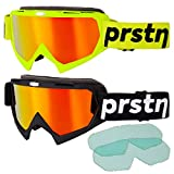 Mountain Bike Goggles Twin Pack, MTB Eye Protection, Red Mirror and Clear Lens, BLK and Fluorescent YEL