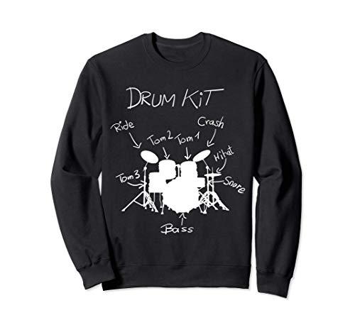 Drums Drumkit Snare Bass Cymbals Drumsticks Funny Drummer Sweatshirt