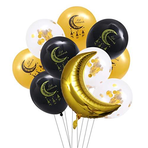TOYANDONA 10 Globos de látex con Forma de Luna para decoración islámica (Dorados y Negros)