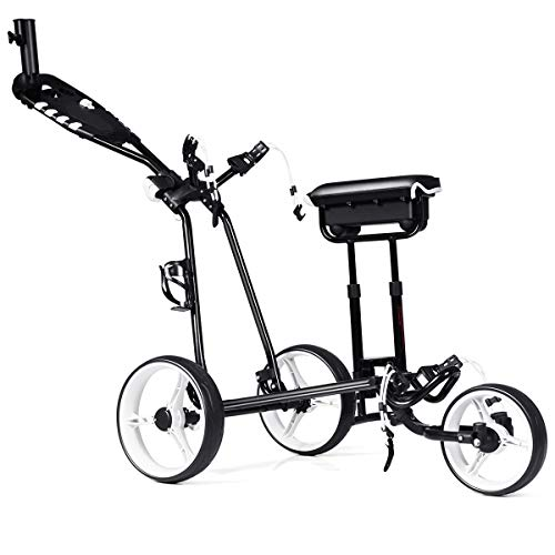 Tangkula Golf Push Cart w/ 3 Wheels Golf Trolley with Stool Scoreboard Swivel Push Golf Cart