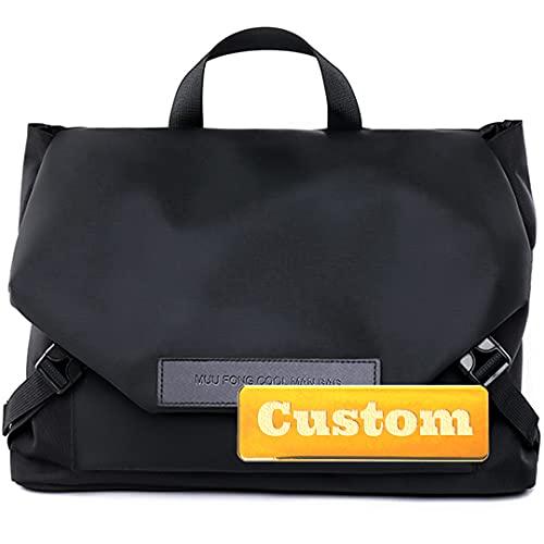 Nombre Personalizado Messenger Bag Hombres Bolsa Hombro Crossbody Viajes Mochila Hombres (Color : Black, Size : One Size)