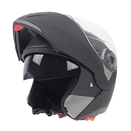 Casco de bicicleta para adultos, luz ajustable, chebao, casco de doble lente para moto, scooter (Negro) (M)