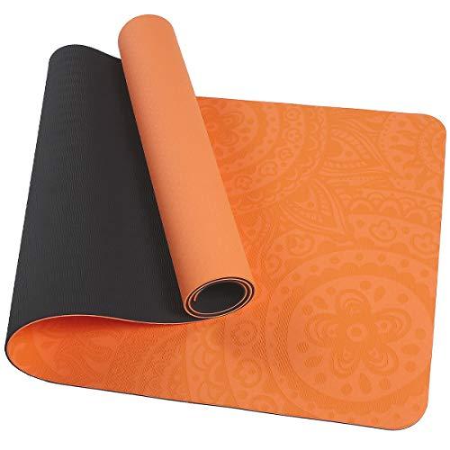 TOMSHOO Colchoneta Yoga Antideslizante, Esterilla Yoga de TPE 6mm, Alfombra Pilates Doble Color con Bolsa de Malla (183 * 61 * 0,6cm) (Naranja y Negro)