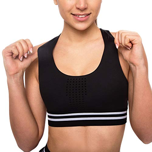 Sujetador deportivo para mujer – Sujetador sin aros con sujeción – Sujetador deportivo para mujer Negro M