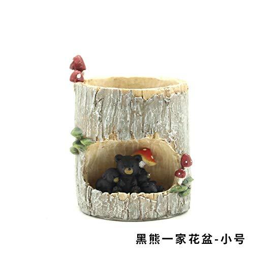 Creatieve Amerikaanse otter schattige dier kleine decoratie sappige plant pot balkon melk thee winkel decoratie set gift Black bear family