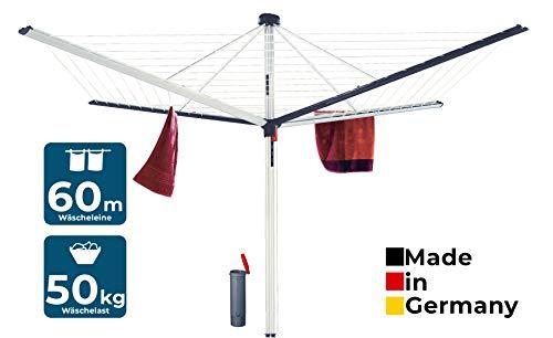 BLOME Wäschespinne Superior DuoMatic 60 - Designer Wäscheständer für den Garten inkl. Bodenhülse, Wäscheschirm mit 60m Wäscheleine, hochwertig & stabil, Made in Germany