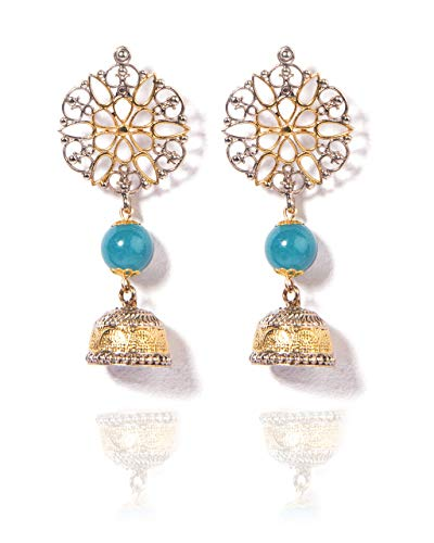 VintFlea Genuine Gemstones Oxidized Fusion Collection - Silver Ethnic Jhumki Earrings for Women