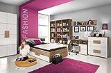 Jugendzimmer Libelle Arkina in Artisan Oak und Weiß 9 teiliges Superset mit 2türigem Kleiderschrank, 120er Bett inklusive Bettschukasten, Schreibtisch, Kommode und Regale
