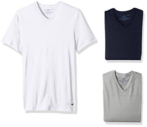 Tommy Hilfiger Men's Undershirts 3 Pack Cotton Classics V-Neck T-Shirt, Blue ice, Small