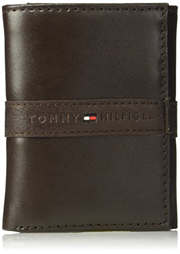Tommy Hilfiger Men's Trifold Wallet-Sleek and Slim Includes ID Window and Credit Card Holder, Ranger Brown, One Size