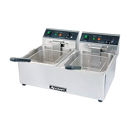 Adcraft DF-6L/2 30-Pound Double Tank Electric Countertop Fryer, 120v, NSF