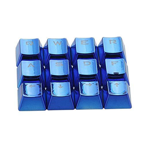 juqingshanghang1 12 stücke Entfernung Vergoldet Keycap Niedrige Profil Wasserdichter Büro USB Backlit Mechanische Tastatur Geeignet für Computerperipheriegeräte (Color : Blue)