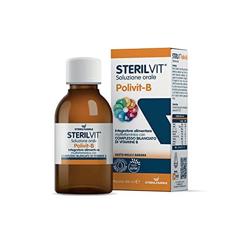 Sterilvit Polivit B suplemento multivitamínico, complejo equilibrado de vitaminas del grupo B, REDUCE LA SENSACIÓN DE FATIGA, delicioso SABOR MANZANA-BANANA. Sin conservantes,sin gluten y sin lactosa