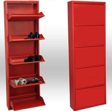 Zapatero metálico de 5 puertas Rojo,