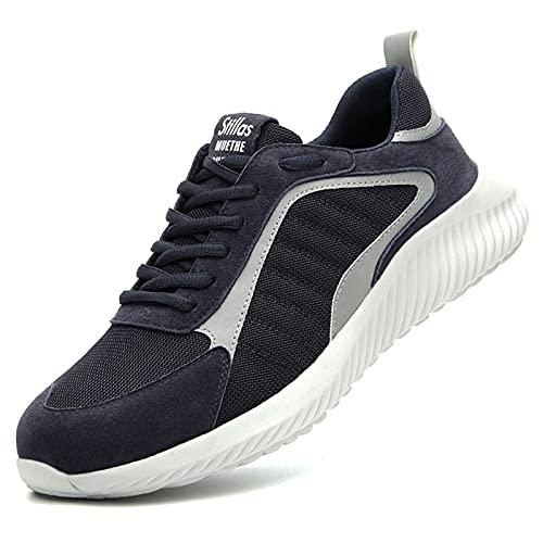 Zapatos de trabajo,Zapatos de Seguridad con Punta de Acero De aislamiento anti-rotura y anti-perforación,Comodo zapatos de cuero de trabajo de electricista livianos,Zapatos de construcción,EU 36-45