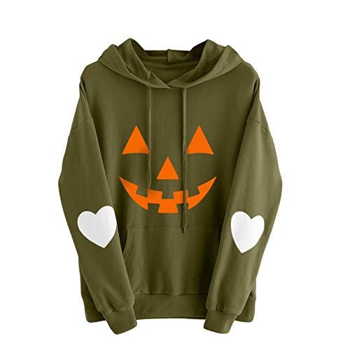 WMNU Plus Size Women Hoodie Pumpkin Printing Slim Fit Hoodie Drawstring Pockets Casual Pullover Sweatshirt Streetshirt Green