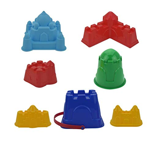 ZIXIXI Juego de 7 juguetes de arena de playa, moldes de construcción de castillo, moldes de arena, kits de herramientas de pala de arena, juguetes de arena para niños pequeños, juegos al aire libre