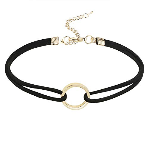 KnBob Choker Necklace Gold Black Hollow Circle Necklace Stainless Steel for Women