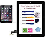 NewHail for iPad 2 Glass Touch Screen Digitizer Replacement Kit Black A1395 A1396 A1397 with Home Button Flex, Adhesive Tape, Midframe Bezel, Screen Protector, Instruction Manual,and Repair Toolkit